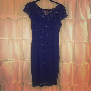 Navy Blue Sequin and Lace Dress by Scarlett Size 4